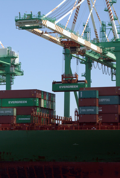CSCL Africa being unloaded.