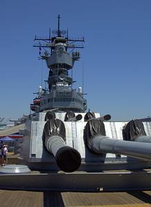 Turret guns and bridge of USS Iowa.