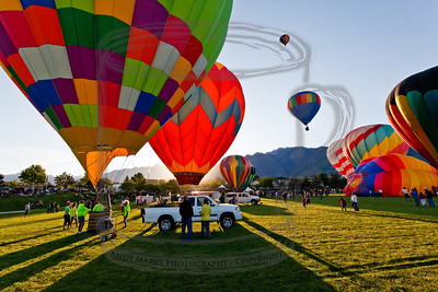 Sandy Balloon Fest, around 7am as the sun rises over the Wasatch Mtns to the east.