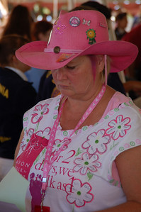 The whole livestock community was involved in promoting Breast Cancer research, so pink appeared everywhere. This lady wore an Avon Walk ribbon.