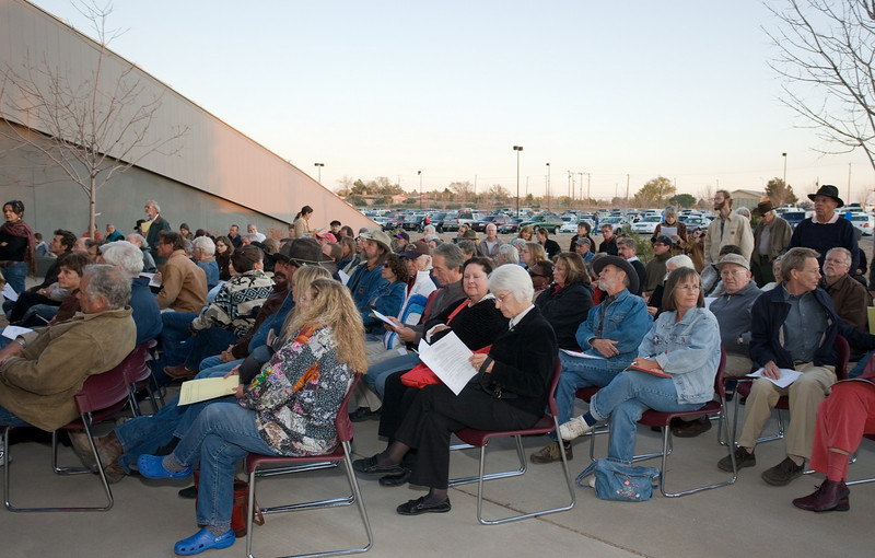 The main meeting room was filled to capacity and many attendees had to sit and stand on the patio.