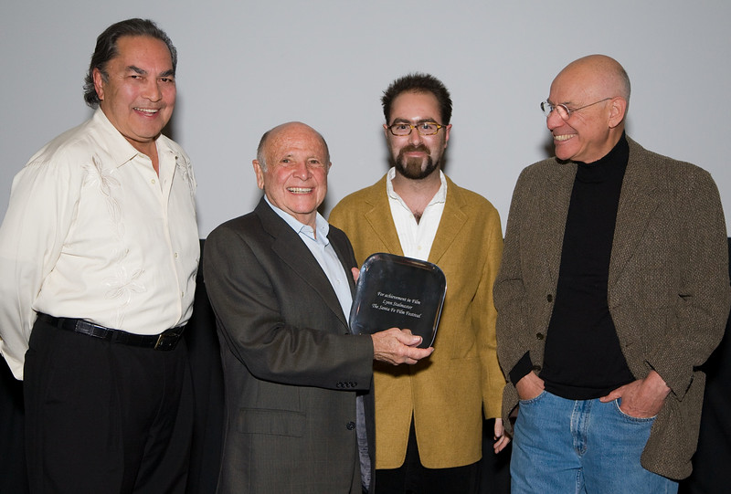 Mr. Valentin de Vargas, Mr. Lynn Stalmaster (with award), Mr. Stephen Rubin (Santa Fe Film Festival), Mr. Alan Arkin