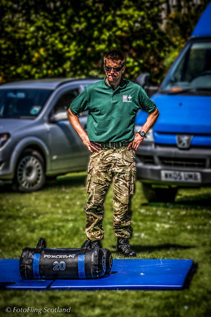 Naval Squaddie contemplates Powerbag West Lothian Highland Games 2012