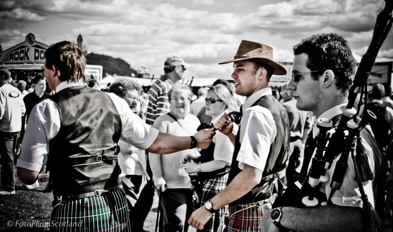 Leading the KIltie Bridge of Allan Highland Games 2005