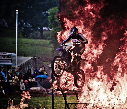 Bike jump through the flames