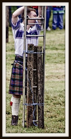 Kiltie ponders going up the ladder