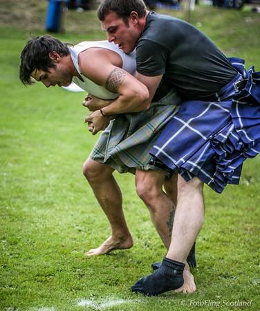 John Taylor and Frazer Hirsch wrestle hard at Ceres Highland Games 2011