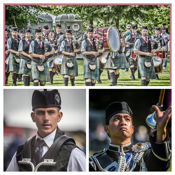 Stockbridge Pipe Band, Drummer and Drum Major Collage