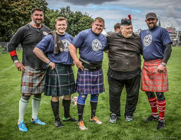 Dr Douglas Edmunds with Sebastian Wenta, Daniel Carlin, Neil Elliott & Lukasz Wenta  -Competitors in the Worlds Highlander Championships