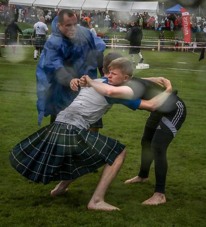 Backhold Wrestling in the rain