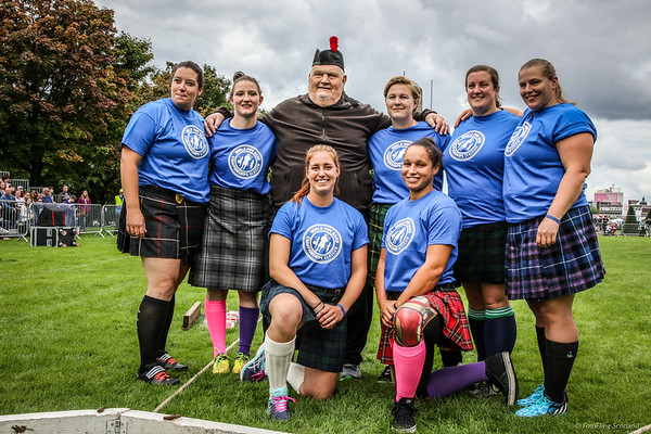 Dr Douglas Edmunds and Women Competitors in the Worlds Highlander Championships