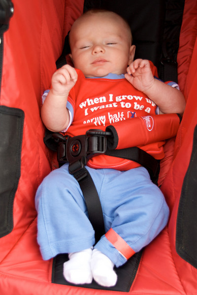 Graham sporting his rugby shirt in the double stroller
