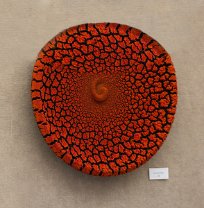 Orange crackle dish on wall 8901