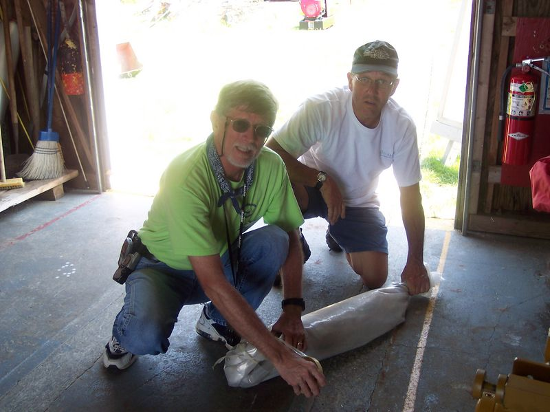 Keepers John Fulton and Andy Heinze wrap seal for delivery to Rockport, MA.
