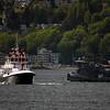 Fireboat and tugboat