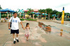 Leaving the splash park/kids' area. As you can see, there weren't many people at the park on this day. Which ruled!