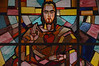 An image seen by many in congregation: the stained glass window of Jesus, sitting in the Indian style, at Dehon Vidya Sadhan