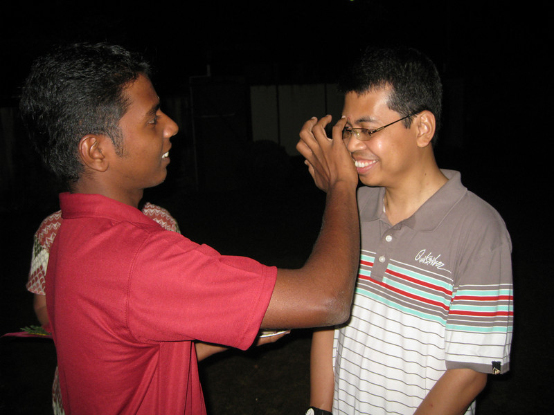 Fr. Heru receives a forehead marking as he is welcomed to Dehon Jyothi in Aluva