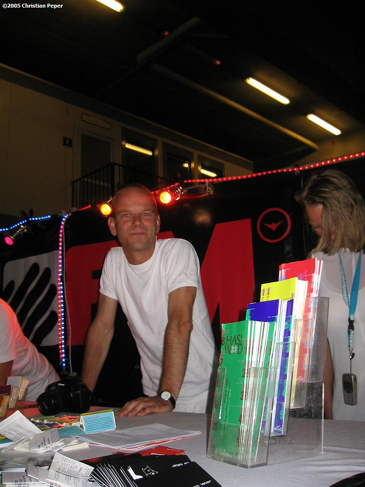 Martin at the Unity stand providing party people with drug info and warnings