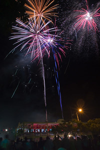 Spectacular fireworks for Belize's 25th independence in Orange Walk Town, Orange Walk, Belize.