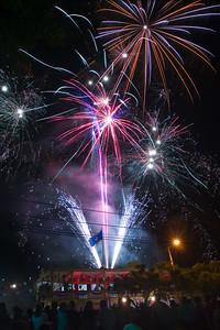 Spectacular fireworks for Belize's 25th independence in Orange Walk Town, Orange Walk, Belize.