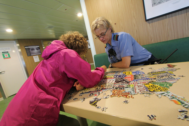 A little puzzle-time with Debra, the nice ferry employee!