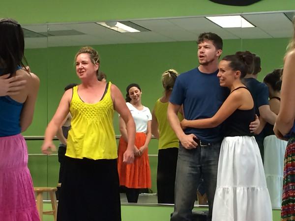 The cast of Oklahoma rehearse.<br /> Photos courtesy Bill Nigut.