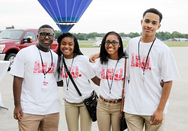 Don Knight   The Herald Bulletin<br /> Student volunteers Najee Harden, Mia Stockett, Paige McKnight and Brandon Haralson.