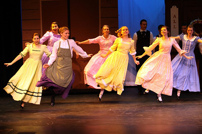 Premier weekend in the newly renovated Jochum Performing Arts Center featured performances of Seven Brides for Seven Brothers.  The musical is based on a movie of the same name which tells the story of Millie, a young bride, living in the 1850's Oregon wilderness. She decides to refine and marry off her six new rowdy brothers-in-law, but in their enthusiasm the brothers end up kidnapping six women from a neighboring town to be their brides.