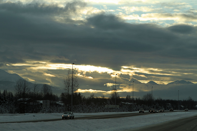Heading out of Anchorage on the Seward Highway Friday morning.
