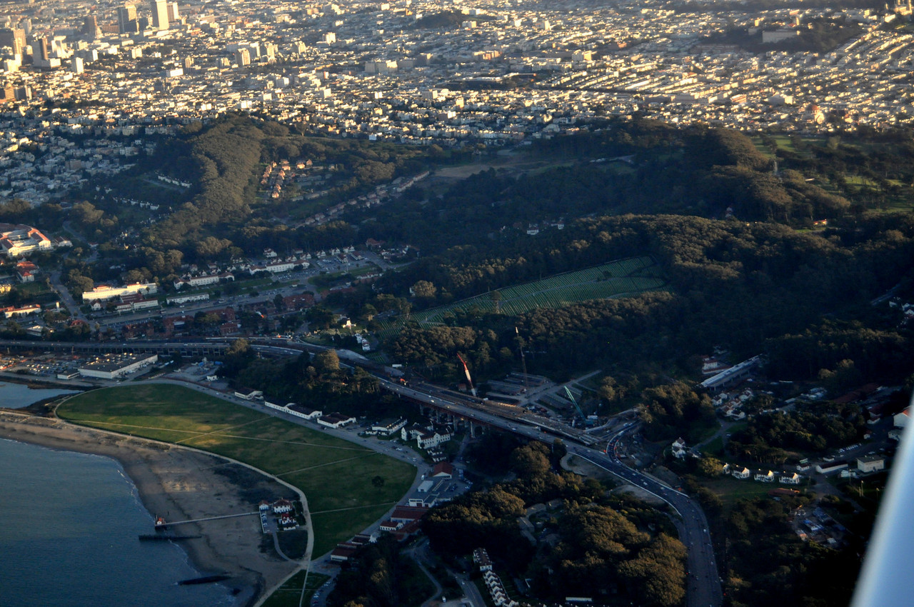 the Presidio. The construction project on the approach to the Golden Gate Bridge is visible here.