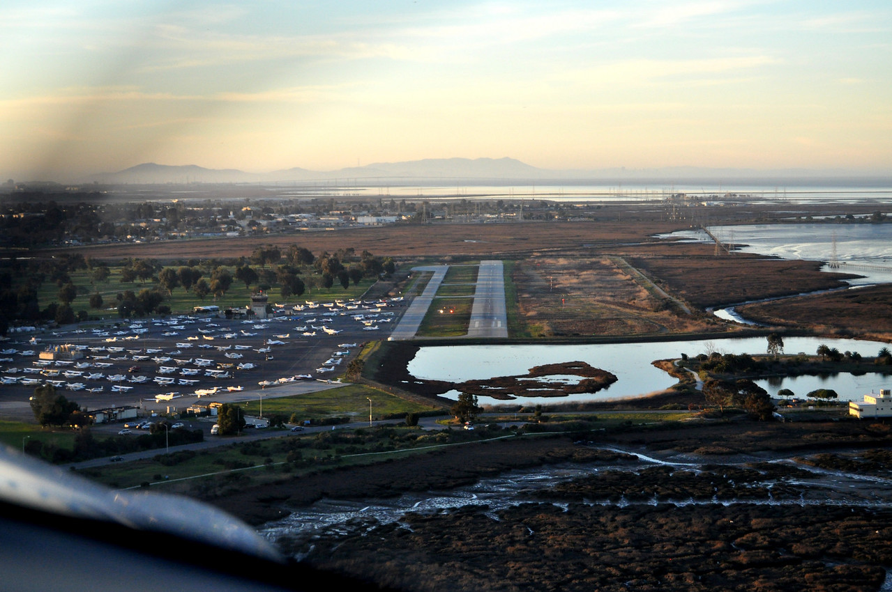 Lining up for landing at Palo Alto Airport...