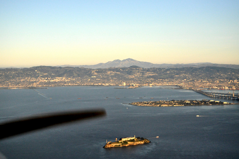 Alcatraz in the foreground, Treasure Island near the middle, East Bay and Mount Diablo in the background...