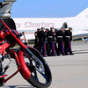 Record-Eagle/Jan-Michael Stump<br /> A United State Marine Honor Guard receives the body of Sgt. Justin Hansen, a 26 year-old Kingsley native who was killed while conducting combat operations in Afghanistan July 24 . A procession, led by a Marine on Sgt. Hansen's custom Harley Davidson motorcycle, seen here in the foreground, took his body from Cherry Capitol Airport to Kingsley. Hansen's visitation and funeral will be at Kingsley High School today. Visitation will begin at 11 a.m. and the funeral will be held at 1 p.m. Following the funeral service, a procession will head to Memorial Gardens off Veterans Drive in Garfield Township. The procession will head west on M-113 to M-37, north on M-37 to Fourteenth Street, right on Fourteenth Street to Veterans Drive and south on Veterans Drive to Memorial Gardens.