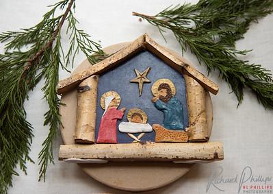 This birch and masonite nativity is Polish