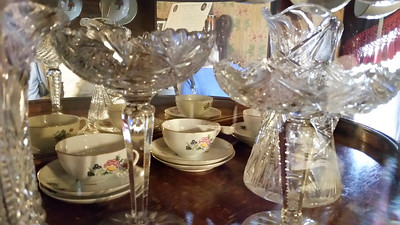 An interesting closeup of the lead crystal and fine china displayed at the Wren's Nest.