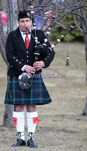 3/19/2011 Mike Orazzi | Staff Jake Pezzulo of Plainville provides the bag pipe music during the 9th Annual Shamrock Run & Walk held at the Chippens Hill Middle School on Saturday morning.