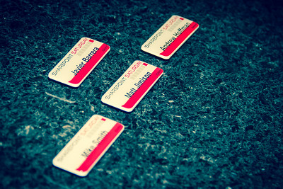 Speaker nametag magnet pins