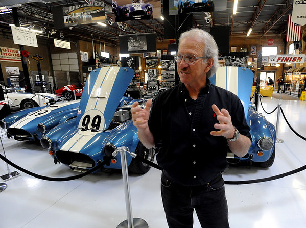 """Bill Murray talks about the Shelby Cobra race cars in the background at the Shelby American Collection in Boulder.<br /> For more photos and a video, go to  <a href=""""http://www.dailycamera.com"""">http://www.dailycamera.com</a>.<br /> Cliff Grassmick / June 12, 2010"""