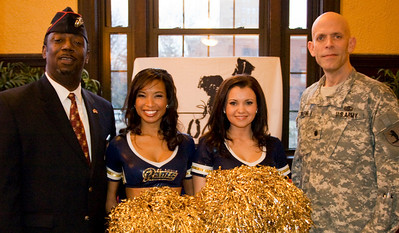 USMC Lt. Colonel Charles Boyd with Missouri Army National Guard Lt. Colonel Alan Rohlfing, pictured with Rams Cheerleaders Tricia and Michele