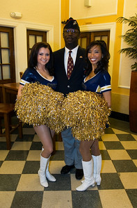 St. Louis Rams Cheerleaders Michele & Tricia with Lt. Colonel Charles Boyd