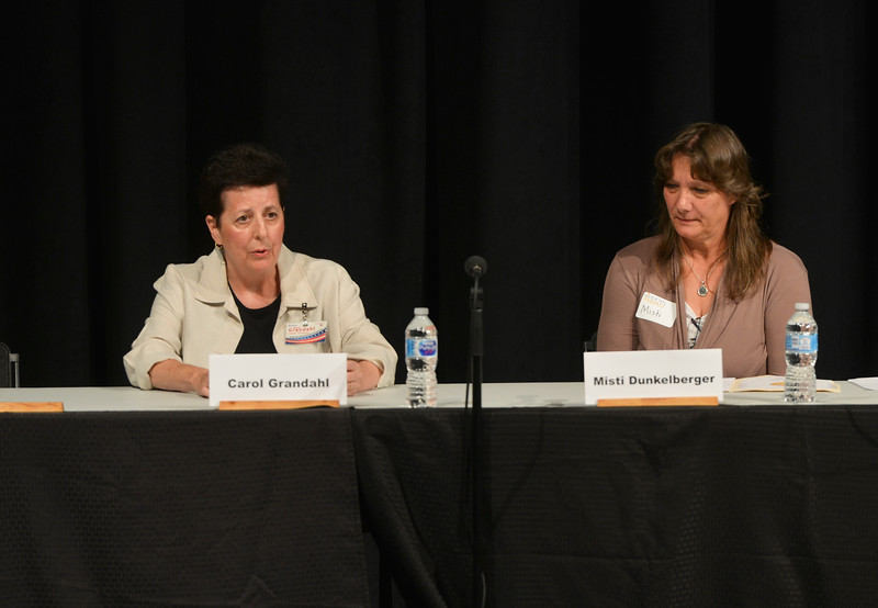 Justin Sheely | The Sheridan Press<br /> County Treasurer candidates Carol Grandahl, left, and Misti Dunkelberger speak during the primary election candidate forum at the WYO Theater Wednesday, Aug. 8, 2018.