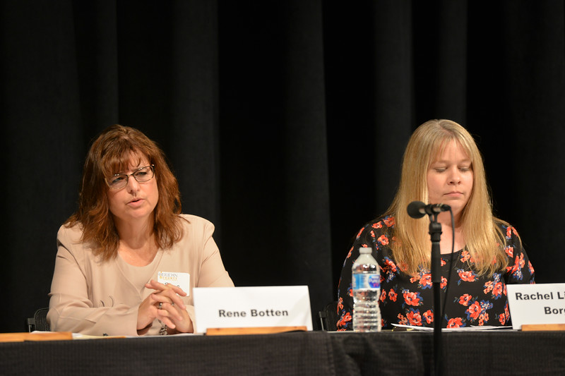 Justin Sheely | The Sheridan Press<br /> Clerk of the District Court candidates Rene Botten, left, and Rachel Livingston Borgialli speak during the primary election candidate forum at the WYO Theater Wednesday, Aug. 8, 2018.