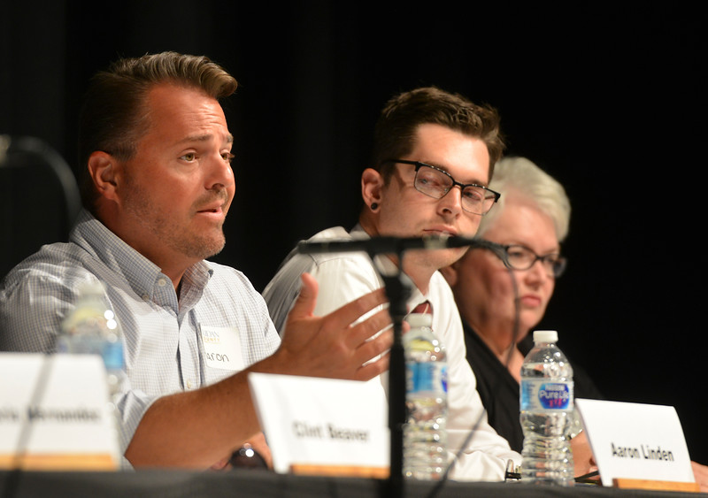 Justin Sheely | The Sheridan Press<br /> Sheridan City Council candidate Aaron Linden speaks during the primary election candidate forum at the WYO Theater Wednesday, Aug. 8, 2018.