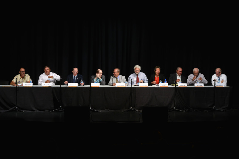 Justin Sheely | The Sheridan Press<br /> Sheridan County Commissioner candidates settle in before a round of questions during the primary election candidate forum at the WYO Theater Wednesday, Aug. 8, 2018.