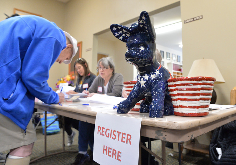 Justin Sheely | The Sheridan Press<br /> People sign in during the Sheridan County Democratic Convention at First Christian Church Saturday, April 14, 2018.