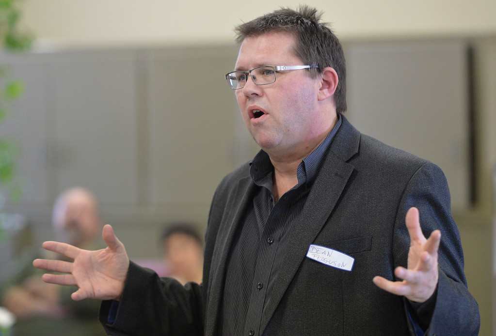 Justin Sheely | The Sheridan Press<br /> Wyoming Democratic Party's executive director Dean Ferguson speaks during the Sheridan County Democratic Convention at First Christian Church Saturday, April 14, 2018.