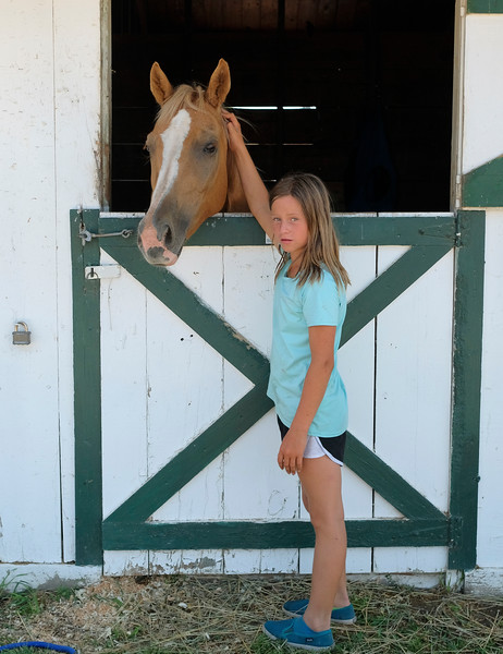 Justin Sheely | The Sheridan Press<br /> Nine-year-old Fath Van Dyke pets her horse Misty during the Sheridan County Fair at the Sheridan County Fairgrounds sale barn Thursday, Aug. 2, 2018.
