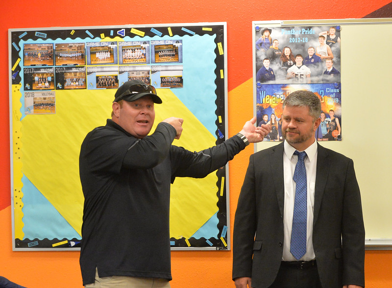 Ryan Patterson | The Sheridan Press<br /> TAC*ONE Consulting trainer Brian Pollard, left, simulates an active shooter scenario with Campbell County School District 1 deputy superintendent Kirby Eisenhauer during school safety training at the Arvada/Clearmont K-12 School Thursday, Nov. 29, 2018. Students, educators, community members and law enforcement participated in training over the course of three days.