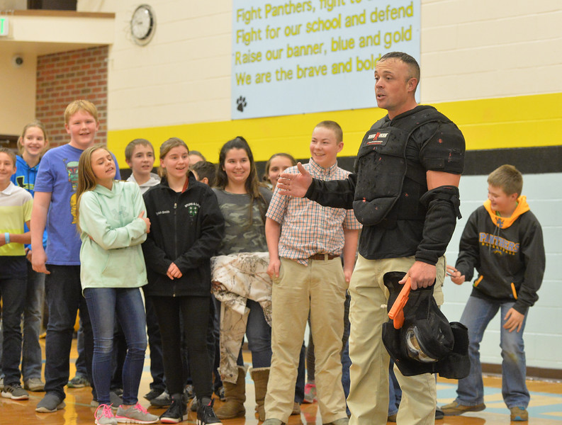 Ryan Patterson | The Sheridan Press<br /> TAC*ONE Consulting founder and president Joe Deedon talks to students during school safety training at the Arvada/Clearmont K-12 School Thursday, Nov. 29, 2018. Students, educators, community members and law enforcement participated in training over the course of three days.